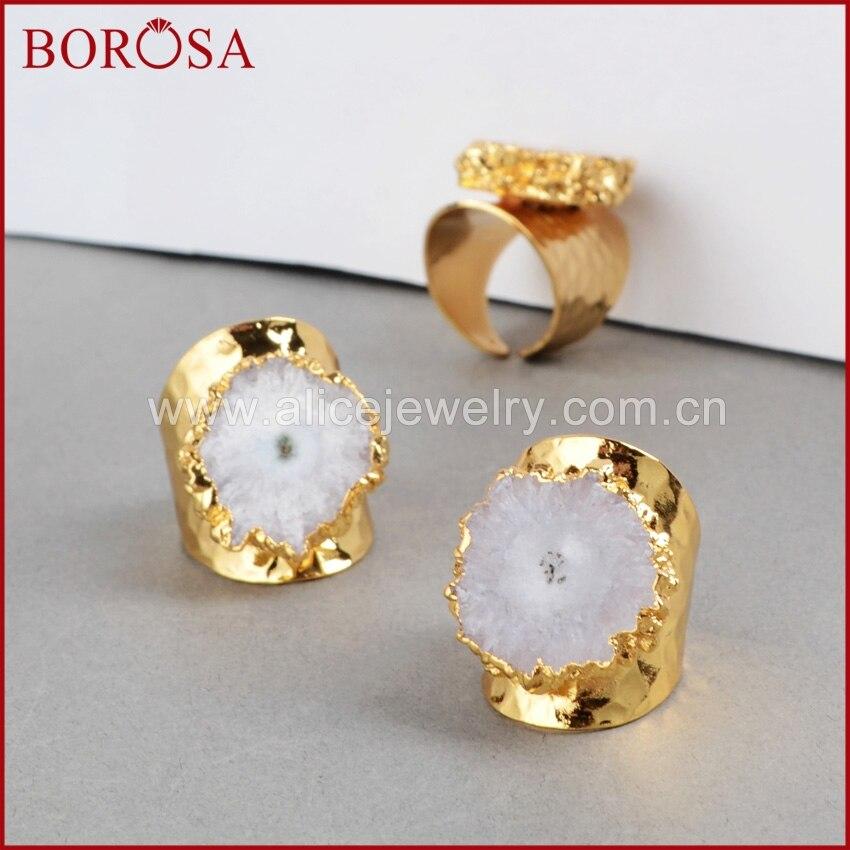 BOROSA Fashion fashion Cave Rings Unique White Solar Quartz Rings