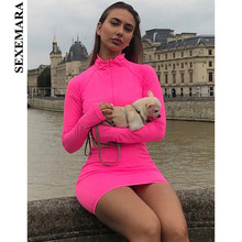 BOOFEENAA Neon Pink Green Long Sleeve Bodycon Dress Spring 2019 Zipper Stretch Casual Sexy Short Night Club Dresses C70-AB59
