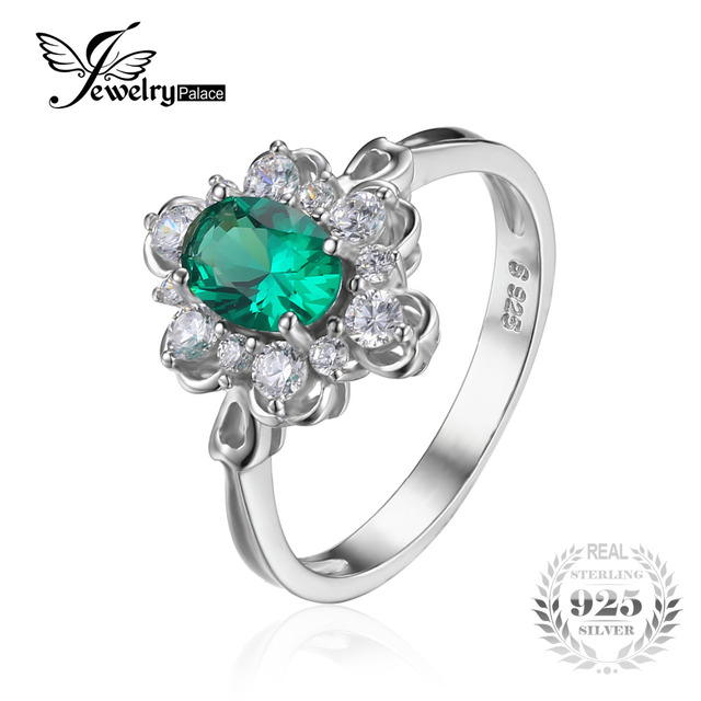 JewelryPalace Elegant 0.7ct Oval Created Green Nano Russian Emerald Solitaire Anniversary Promise Ring Solid 925 Sterling Silver