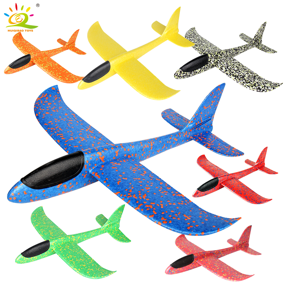HUIQIBAO TOYS 7color 48*48cm Foam Hand Throw Plane Launch Glider Airplane Play Flying Aircraft Outdoor Games Toys For Children