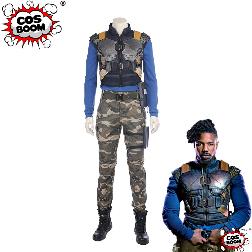 COSBOOM Black Panther Erik Killmonger Costume Superhero Jumpsuit Halloween Costume Black Panther Erik Killmonger Cosplay Outfit