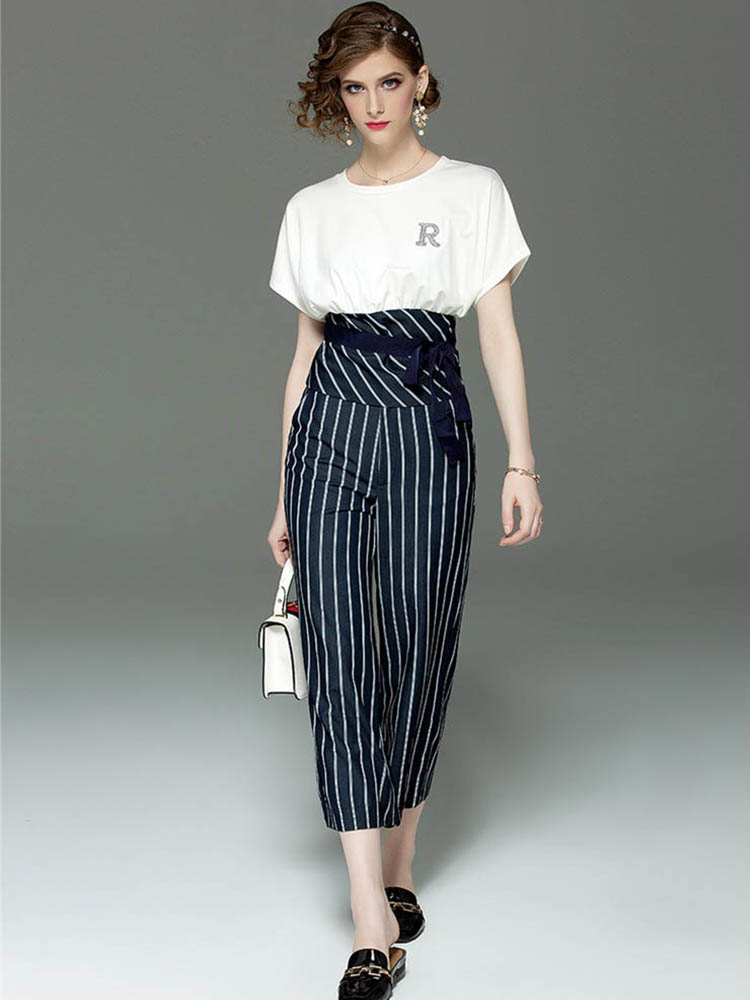 High Quality 2019 Summer New Fashion Women Sets Suit Casual Fashion Short Sleeved Shirt Wide Leg Pants Suit Two piece Trend L208 in Women 39 s Sets from Women 39 s Clothing