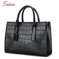 Fashion Crocodile Leather Handbags Women Casual Tote Bags High Quality PU Female Handbag Tassel Large Capacity