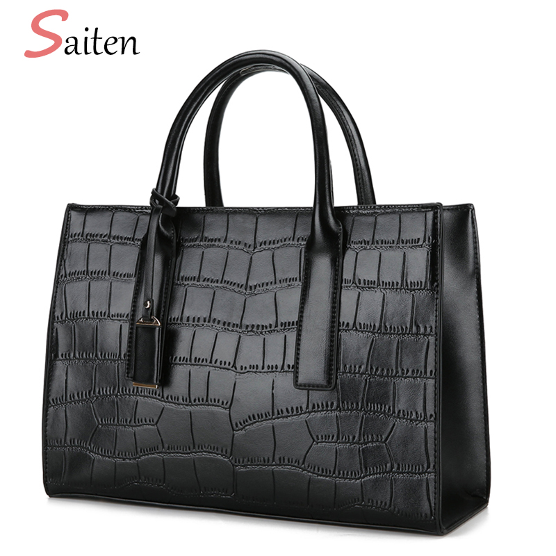 Fashion Crocodile Leather Handbags Women Casual Tote Bags High Quality PU Female Handbag Tassel Large Capacity Ladies Hand Bags