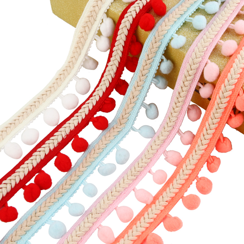 US $2 98 3Yard Vintage Embroidered Trim Ribbon 1 2CM Pom Pom
