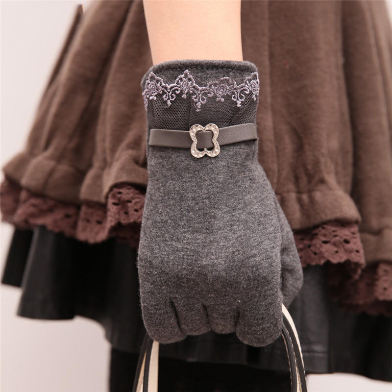 Fashion Women Lace Gloves Outdoor Bicycle Cute Mittens Winter Warmer Accessories
