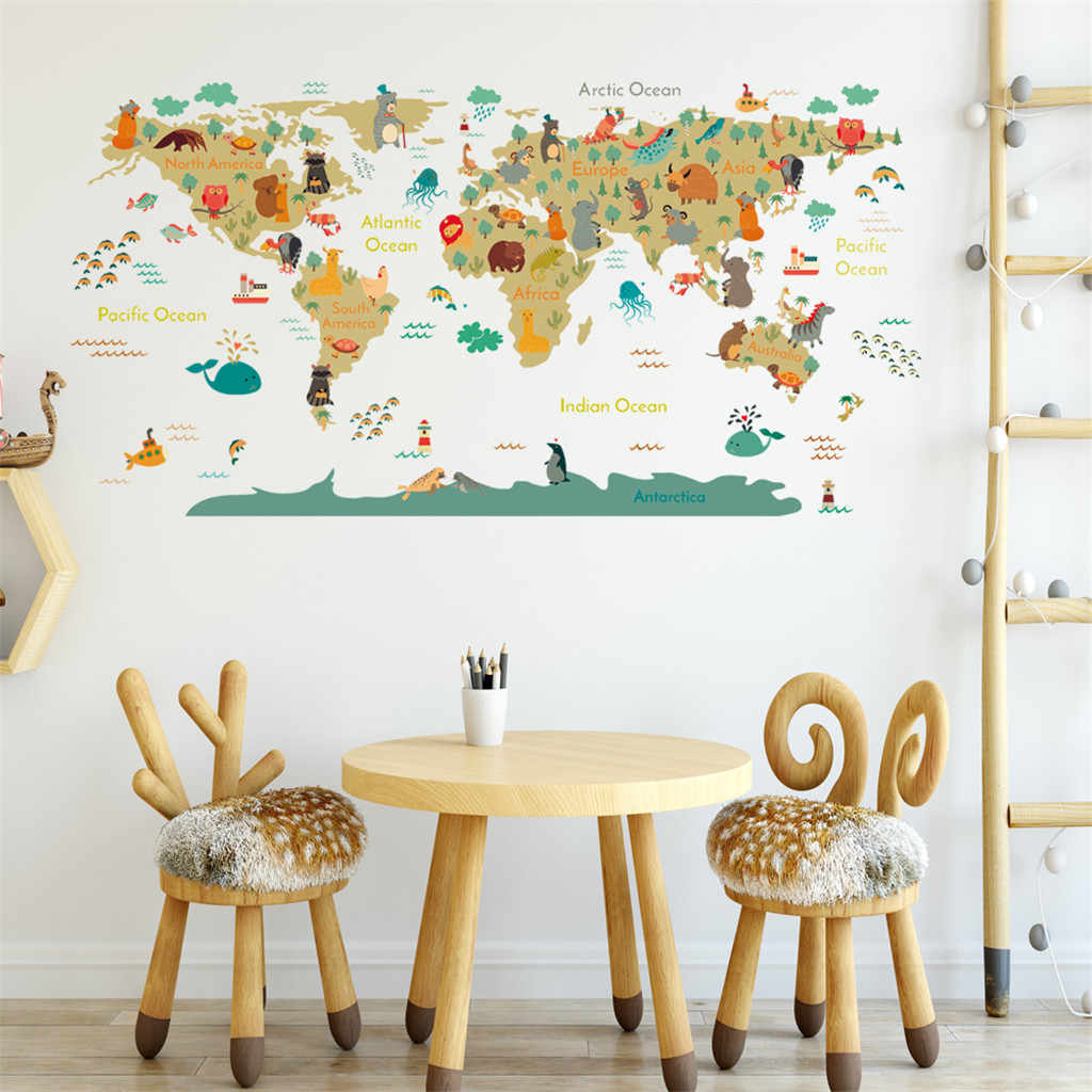 Caricatura de mundo animal mapa pegatina de pared DIY papel pintado niños habitación decoración de la pared calcomanías dormitorio decorativo cartel de guardería