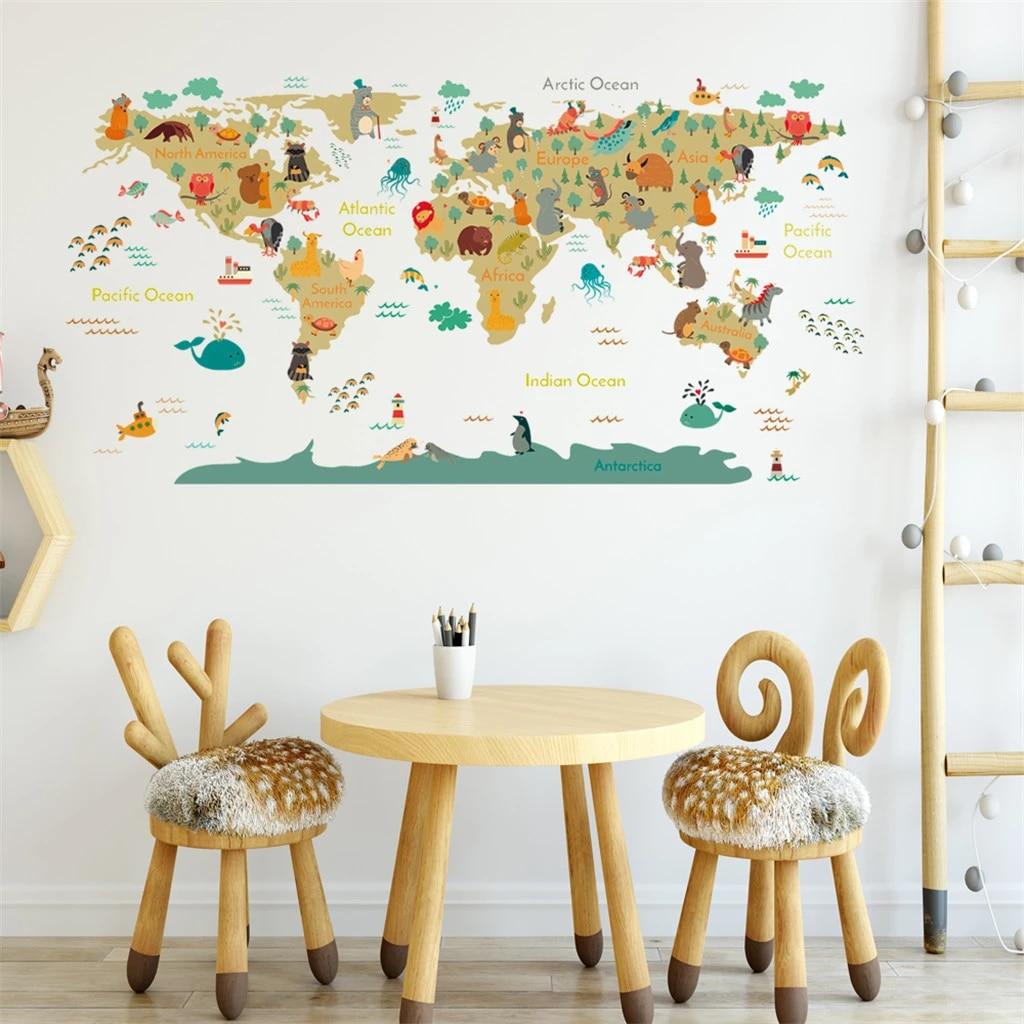Cartoon Animal World Map Wall Sticker Diy Wallpaper Kids Room Home Decor Wall Decals Bedroom Decorative Nursery Poster Wall Stickers Aliexpress
