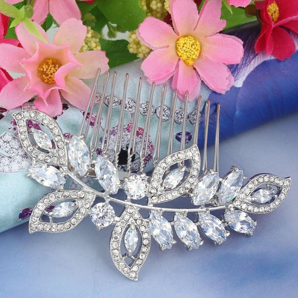 Bella Fashion Luxury Leaf Bridal Hair Comb Cubic Zircon Austrian Crystal Wedding Hair Piece For Accessories Party Jewelry Gift недорого