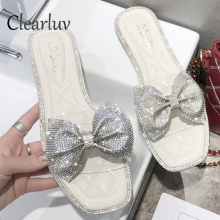 Fashion rhinestone sequins flat slippers women 2019 summer new wild transparent bow outside wearing beach sandals C1292