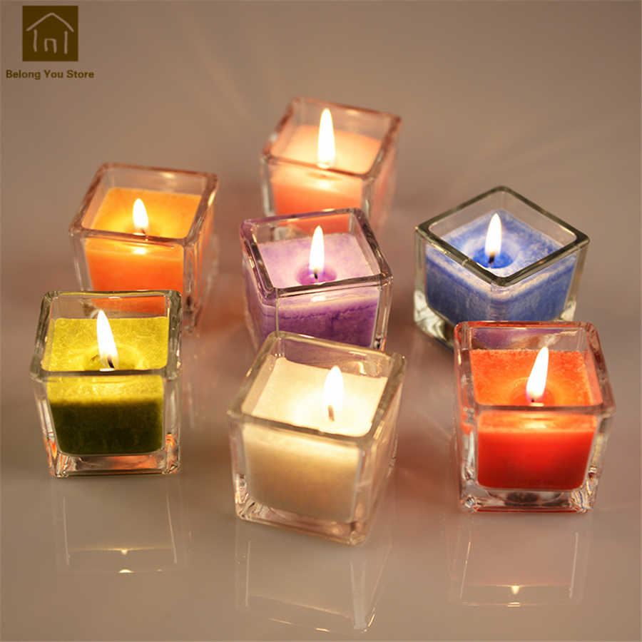 White Square Smokeless Decorative Scented Candles Fragrant Candle Glass Wedding Decoration Hediyelik Mum Household Tool WKK042