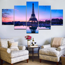 Modular Canvas Painting Prints 5 Pieces Paris Tower Wall Art Pictures For Living Room Poster Decor Artwork