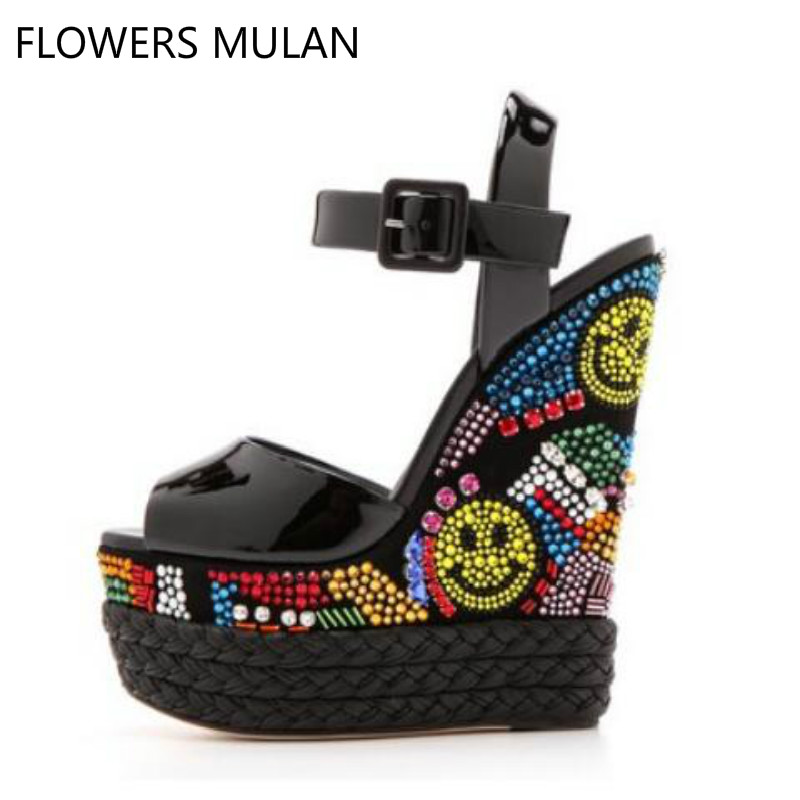 Brand Black Patent Leather Women Wedge heel Sandals Multi-color Crystal Embellished Wedge Sandals Ultra Weave Braid Heel Shoes ladylike women s sandals with bowknot and wedge heel design