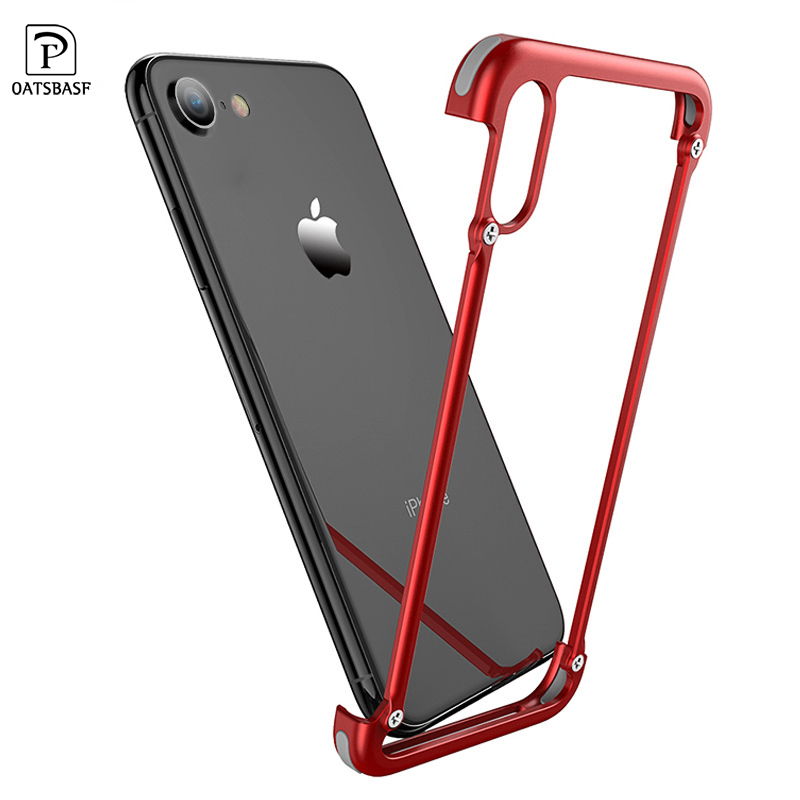 Oatsbasf with Airbag Metal Frame shape phone case for iPhone 7 bat ring bracket personality Shell for iPhone 8 Metal Bumper case