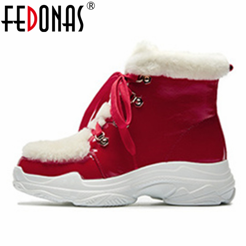 все цены на FEDONAS Top Quality Women Patent Leather Platforms Ankle Boots Corss-tied Short Warm Basic Boots Ladies Casual Shoes Woman