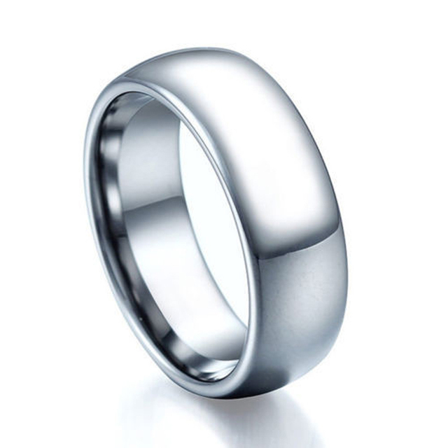 8mm tungsten mens wedding ring classic dome hi tech scratch proof fashion jewelry for men - Tungsten Mens Wedding Rings