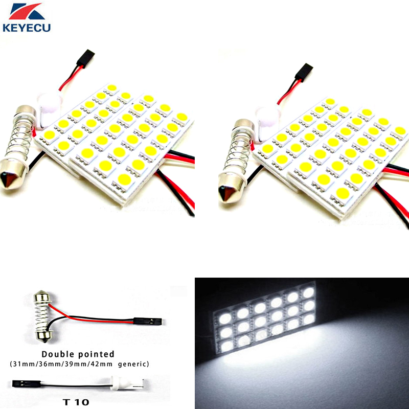 KEYECU 4PCS 12V White 5050 18SMD LED Panel Dome Light Lamp Auto Car Reading Interior Lamp With T10 Festoon Adapters