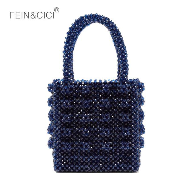 Perlas de cristal acrílico caja con cuentas bolsa mujeres bolso 2019 verano vintage de marca de lujo de color claro dropshipping. exclusivo.