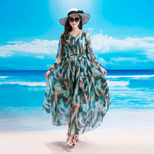 2017 New Design Womens Long Sleeve V Neck Peacock Floral Maxi Dress Holiday Beach Sundress Maternity