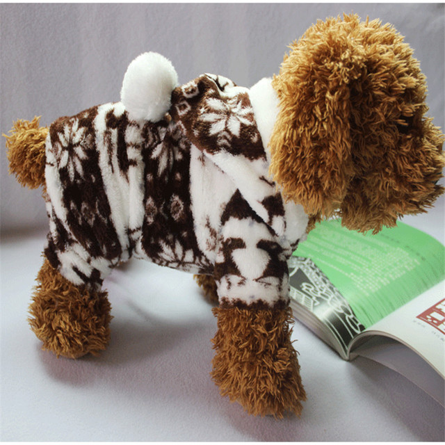 The New Autumn And Winter Snowflake Soft Fleece Dog Clothes Pet Dog Dress Pattern Coral Velvet Deer Christmas Puppy Coat Four Ha 2