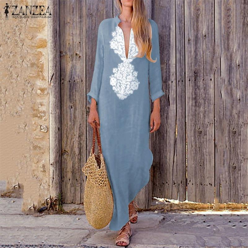 2018 ZANZEA Vintage Frauen Lange Hülse Maxi Lange Kleid Herbst Tiefe V-ausschnitt Paisley Solide Vestido Robe Baggy Boho Kaftan sommerkleid