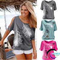 Women Summer 2019 Tshirt Casual Short Sleeve Tops Tees Sexy Off Shoulder Feather Print T Shirt O neck Loose Plus Size 5XL Shirts