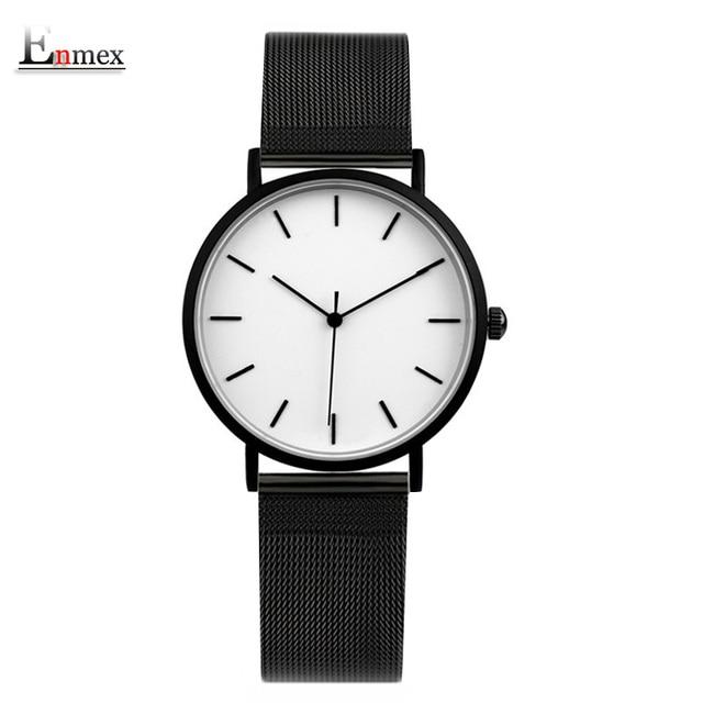 Enmex cool style lady wristwatch Brief vogue simple stylish Black and white face Matte texture quartz clock fashion watch