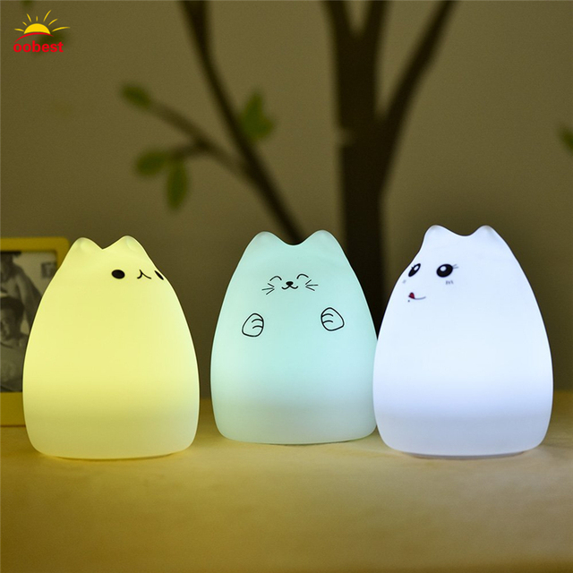 Charming Colorful Cat Silicone LED Night Lamp USB Recharge Slap Button Switch Light  Vogue Kids Cute Night