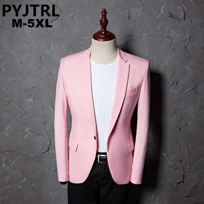 PYJTRL Mens Casual Pink Formal Suit Jacket Coat Campus Wear Single Button Wedding Blazer Styles Stage Costumes For Singers