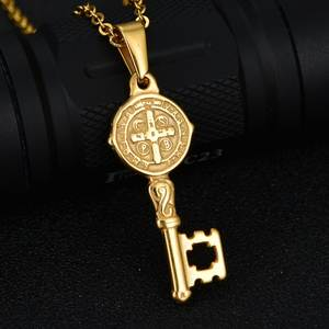 11ff4ae52aa Vintage Antique Stainless Steel Cross Key Religious Pendant