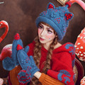 Рождественская Елка Шапочка и Перчатки Милые Женщины Зима Теплая 100% Ручной Шапка Шапки Подарок