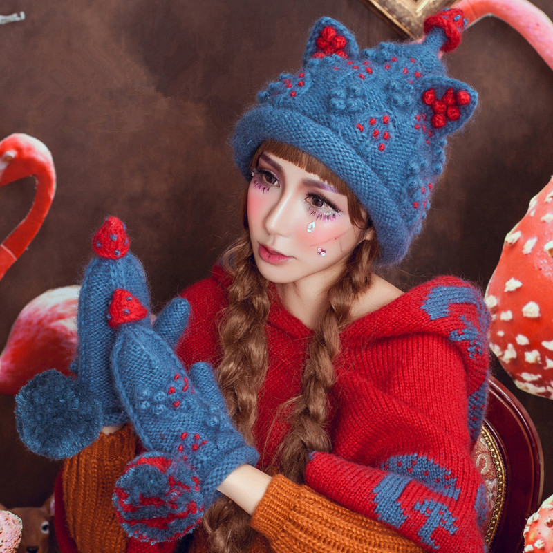 BomHCS Christmas Tree Beanie & Gloves Cute Women Winter Warm 100% Handmade Knit Hat Caps Gift