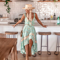 Turquoise Ruffle Chic 2 Piece Set Women Summer High Waist Elastic Crop Top Skirt Set 2019 Clothes Beach Vintage Hippie Boho Sets