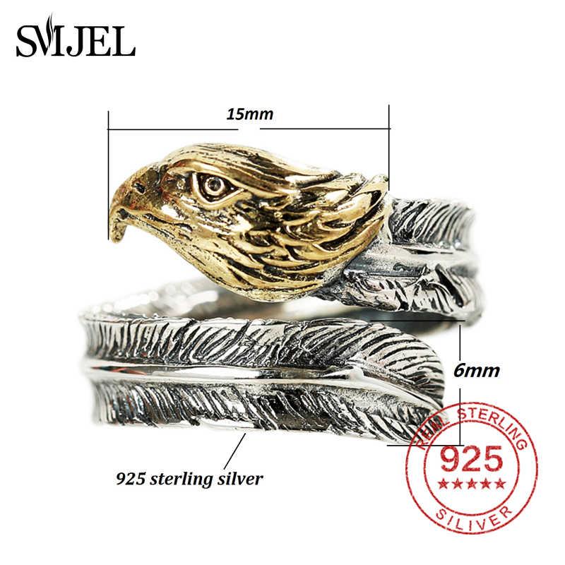 SMJEL 100% 925 เงินสเตอร์ลิงแหวนที่ไม่ซ้ำกัน Eagle แหวน Biker แหวนผู้ชาย Grace แฟชั่นเครื่องประดับร้อน Dropshipping