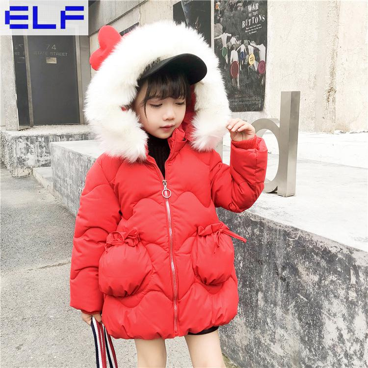 New Fashion Baby Girls Jackets New Hooded Kids Down Cotton Coat Toddler Fur collar Autumn Winter Jacket Children Jacket Parka new fashion print 2017 winter women down cotton medium long jacket parka female hooded fur collar size m 3xl outerwear coatcq560