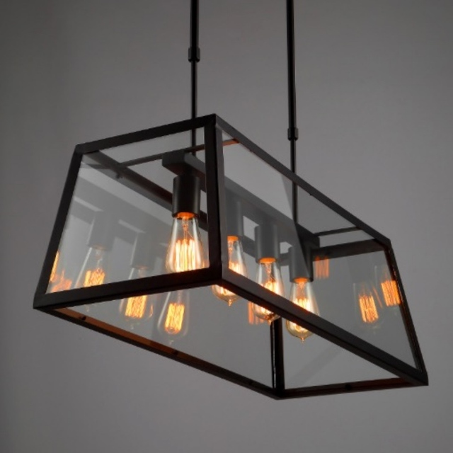 Vintage Minimalism Industrial Black Iron Clear Glass Box Led E274 Pendant Light For Restaurant