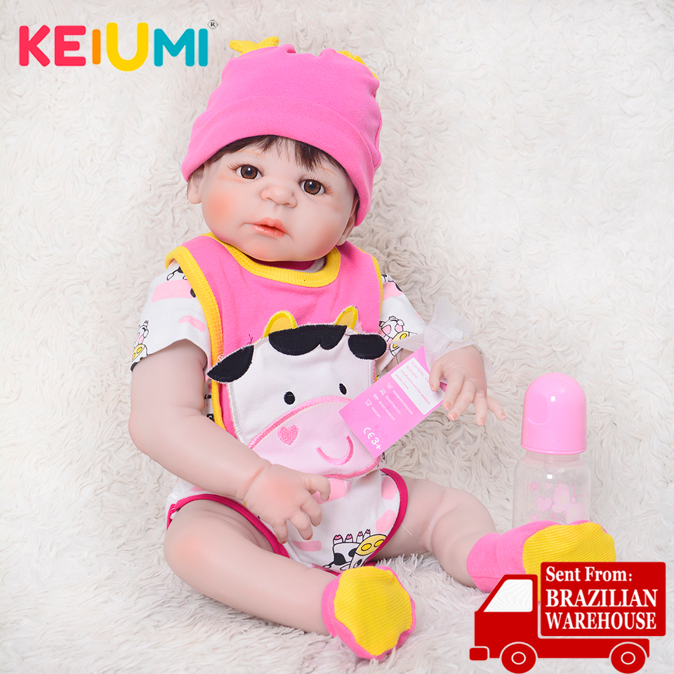 KEIUMI Cute Full Silicone Vinyl Reborn Baby Dolls 23 Lifelike Newborn Reborn Menina Baby Waterproof Children