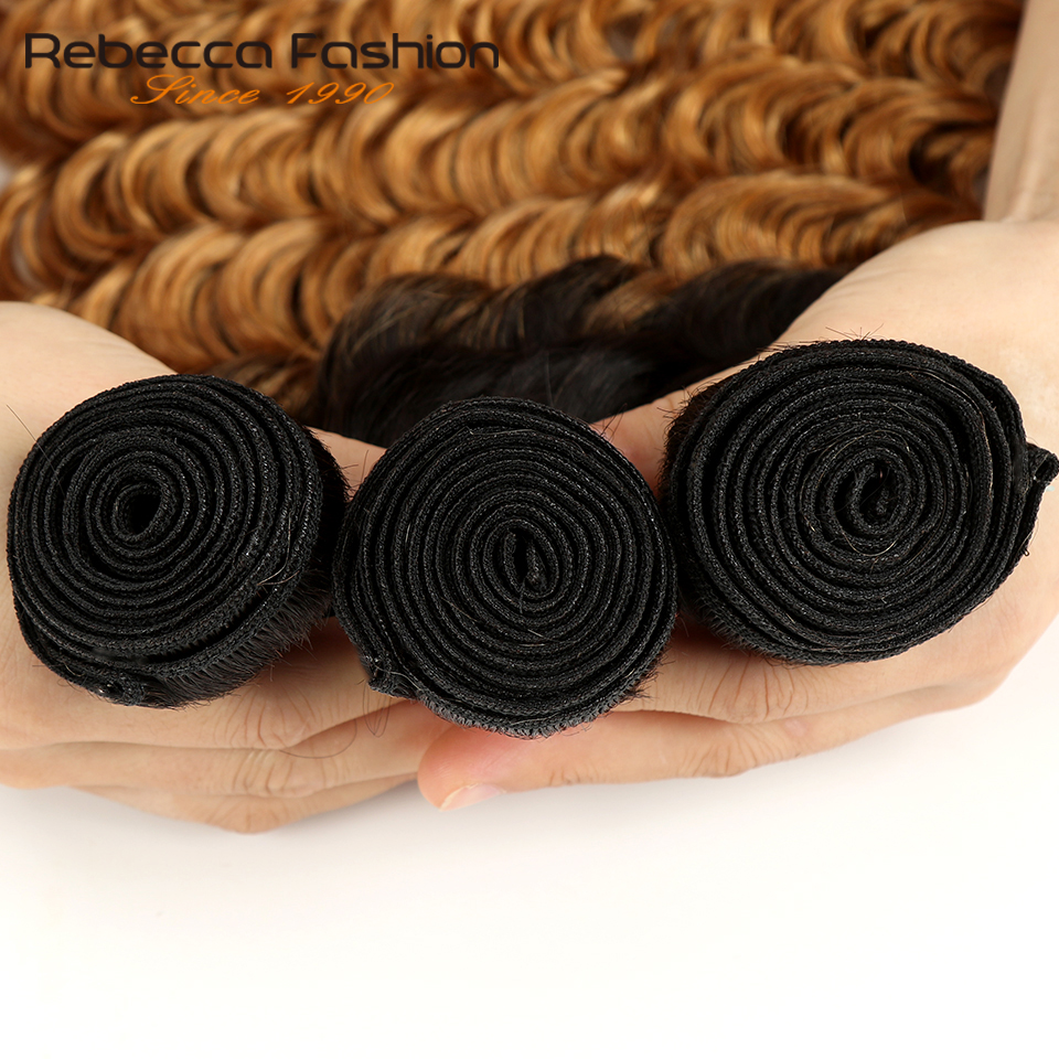 Rebecca Ombre Indian Deep Wave Bundles 3/4 Pcs Remy 2 Tone Color T1B/27# T1B/30# T1B/99J# 100% Human Hair Bundles