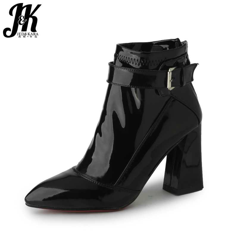 JK Thick High Heels Women Ankle Boots Patent Pu Female Bootie New 2018 Winter Warm Sexy Fashion Shoes Pointed Toe Zip Footwear 2018 new arrival denim ripped ankle boots sexy pointed toe winter boots female footwear women s high strange heel shoes side zip