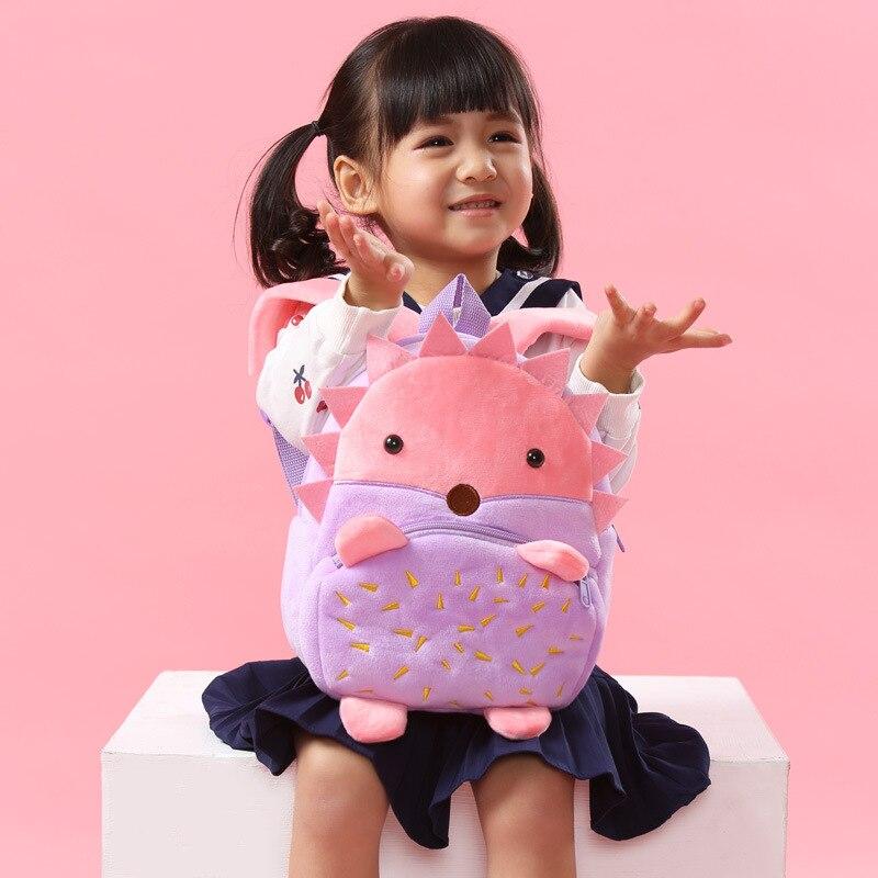 Baby mini schoolbag plush backpack Lovely children's animal hedgehog shoolbags  for Kids Birthday Christmas gift