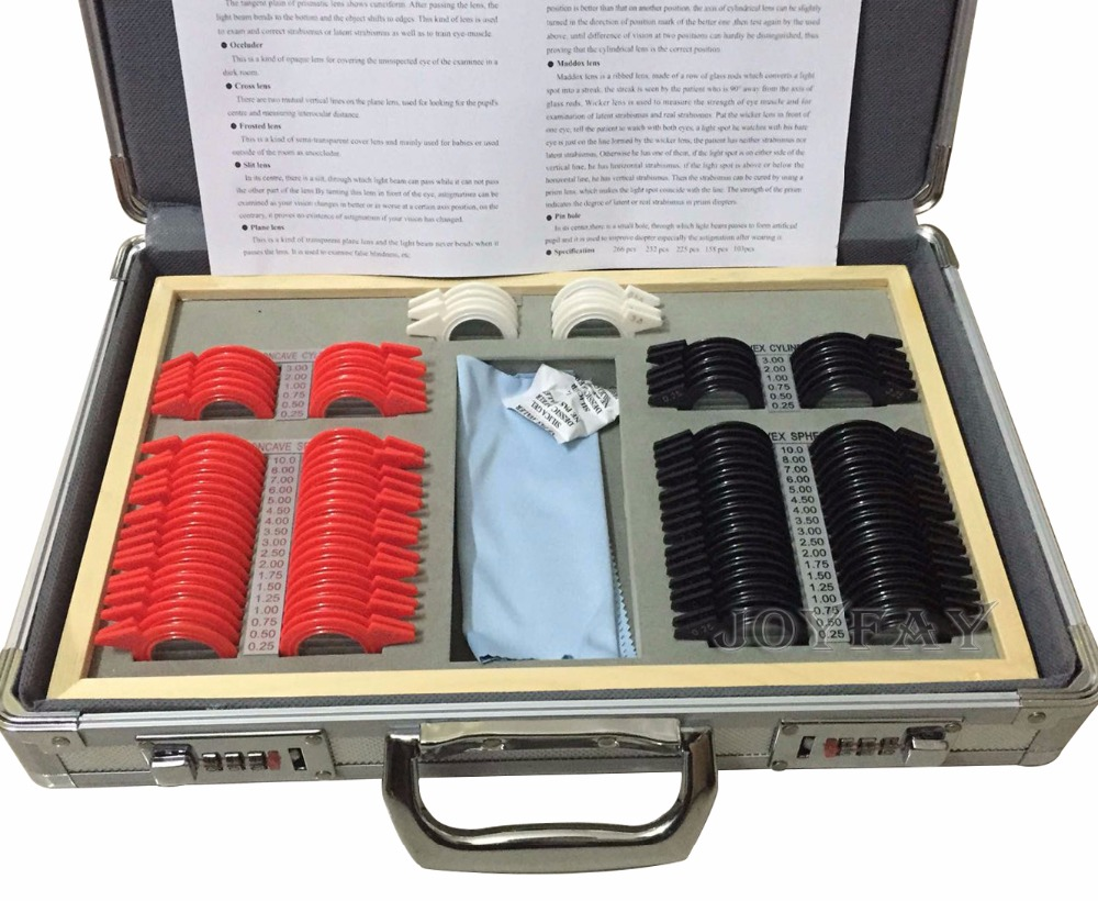 104 pcs Optical Trial Lens Set Plastic Rim Aluminum Case + 1 Free Trial Frame  цены