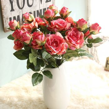 5PCS Artificial Silk Rose Flower for Bridal Bouquets Wedding Party Decoration Home Valentine's Day Christmas Decoration Flowers