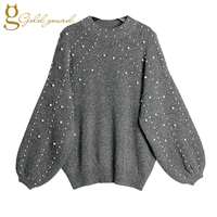 MENKAY Pearl Nail Bead Lantern Sleeve Women Sweater Long Sleeve Loose Clothes Pullover Sweater 2017