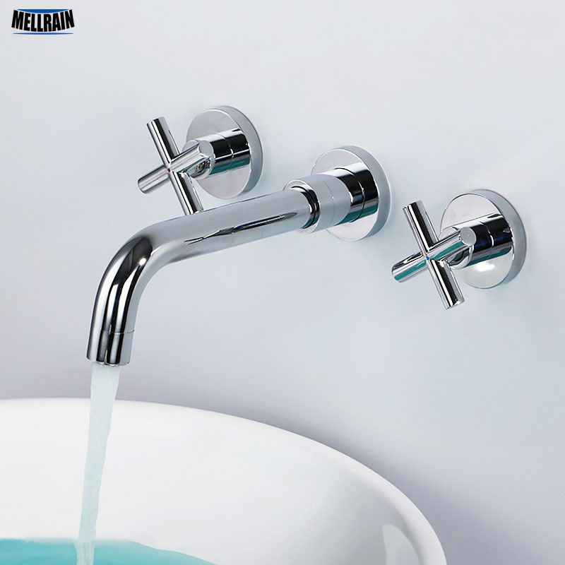 Brass chrome plated wall mounted double handle bathroom faucet high quality round sink mixer widespread water tap china sanitary ware chrome wall mount thermostatic water tap water saver thermostatic shower faucet
