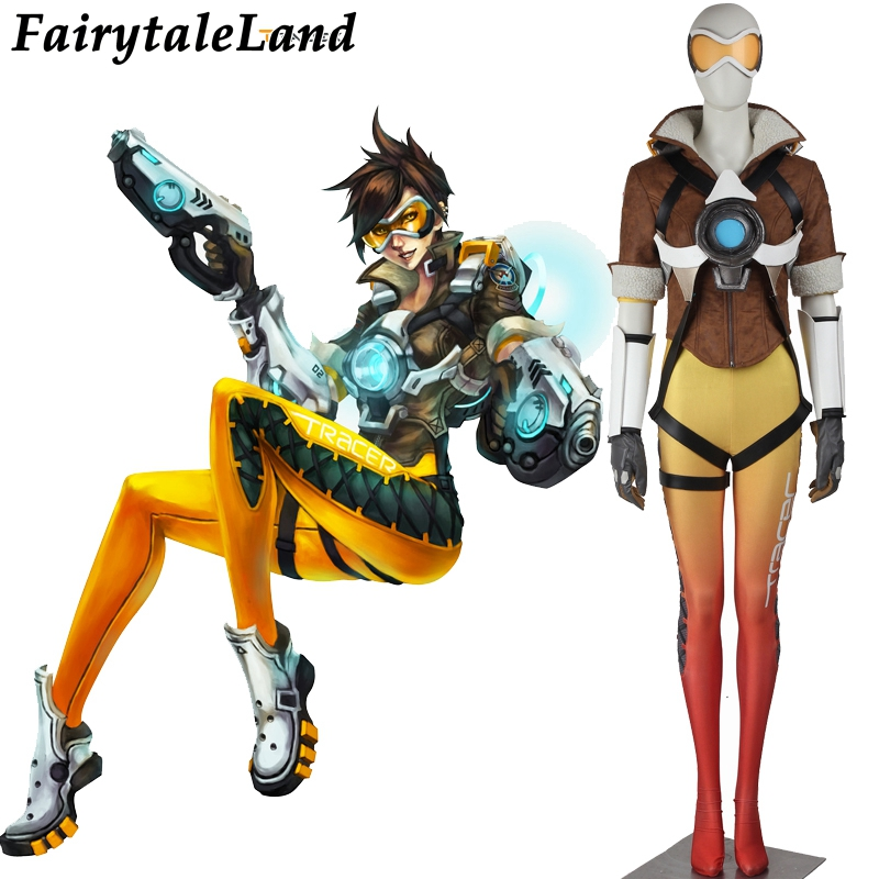 Jeu populaire OW cosplay Lena Oxton Traceur costume soldat 76 Traceur cosplay costume Halloween costumes pour Adulte Traceur costume