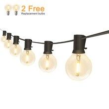Açık LED Dize Işıklar Su Geçirmez IP65 18Ft/25Ft G40 Küre LED filament ampuller Veranda Bahçe Sundurma Arka Bahçe Noel Partisi