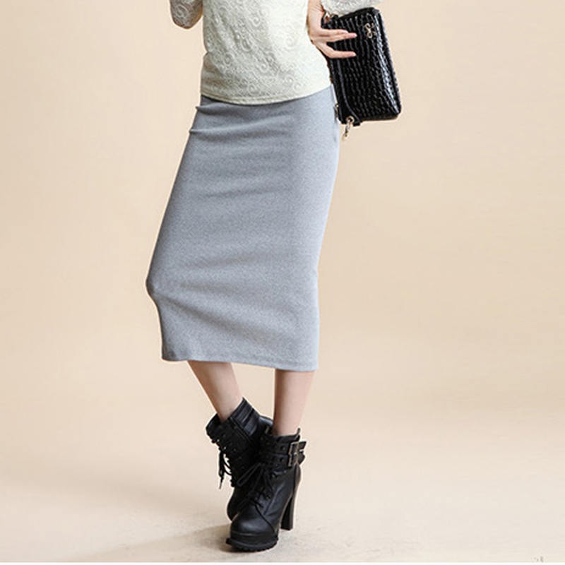 Skirts: A Little Thick 2016 Spring Sexy Chic Pencil Skirts Office Look Natural Waist Mid-Calf Solid Skirt Casual Slim Hip Placketing