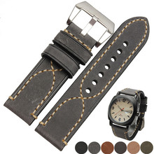 20 22 24 26mm New Men Lady Black Gray Green Dark Light Brown Watch Band Genuine Leather Thick Band Strap Belt Silver Pin Buckle все цены