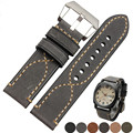 20 22 24 26mm New Men Lady Black Gray Green Dark Light Brown Watch Band Genuine Leather Thick Band Strap Belt Silver Pin Buckle