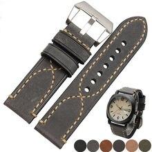 20 22 24 26mm noir gris vert foncé marron clair bracelet de montre en cuir véritable épais pour Tag CARRERA Omega Montblanc Panerai Daytona
